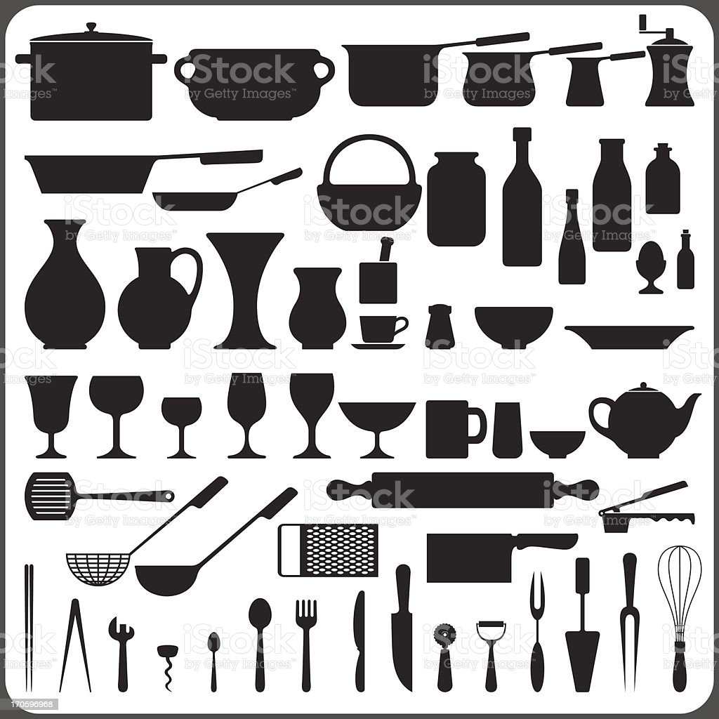 kitchenware set vector art illustration