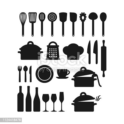 Kitchenware utensils pots and tools black silhouette icon set. Kitchen appliances, cutlery, silverware, cooking pan pod, bottles and glasses vector icons.
