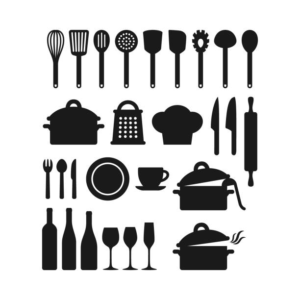 Kitchenware utensils pots and tools black silhouette icon set. Kitchen appliances. Kitchenware utensils pots and tools black silhouette icon set. Kitchen appliances, cutlery, silverware, cooking pan pod, bottles and glasses vector icons. rolling pin stock illustrations