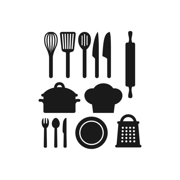 Kitchenware utensils vector black icon set. Kitchenware utensils vector black icon set. Kitchen appliances, pot, grater, chef hat, rolling pin, knife, fork, spoon vector icons. rolling pin stock illustrations