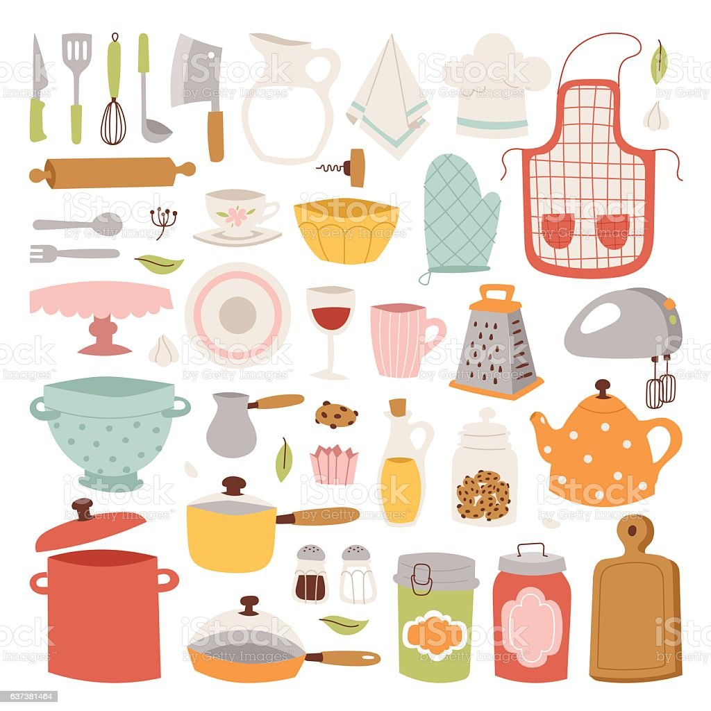 Kitchenware Vector Icons Stock Vector Art & More Images of Apron ...