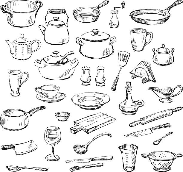 kitchenware Vector doodle of a various kitchenware. kitchenware department stock illustrations