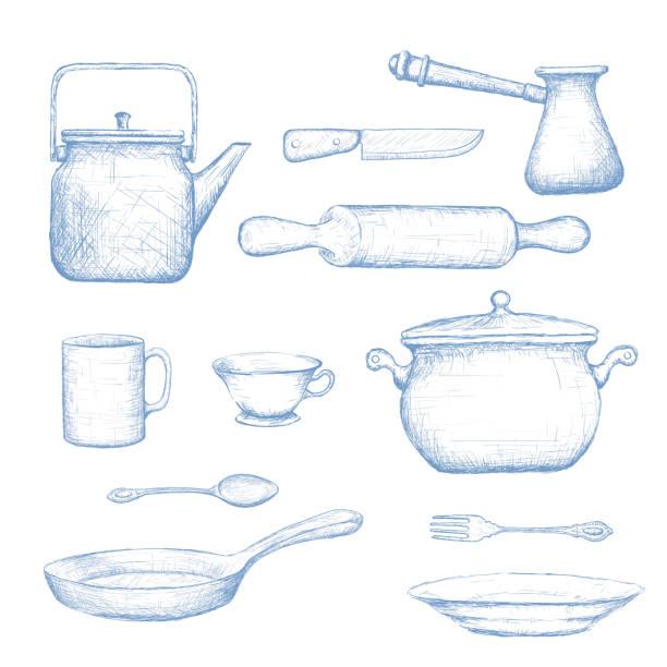 küchenbedarf. - retroküchen stock-grafiken, -clipart, -cartoons und -symbole