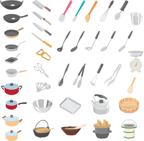 illustrazioni stock, clip art, cartoni animati e icone di tendenza di kitchenware - cucina domestica