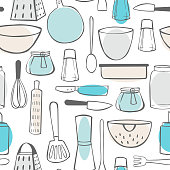 Hand drawn kitchenware. Vector  seamless pattern
