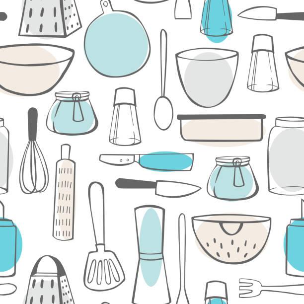 ilustraciones, imágenes clip art, dibujos animados e iconos de stock de utensilios. patrón vectorial - conceptos y temas