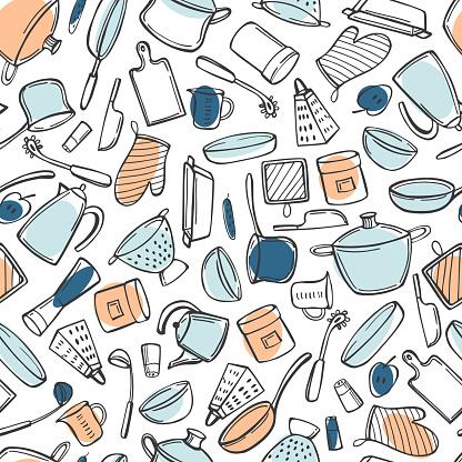 Kitchenware. Vector  pattern