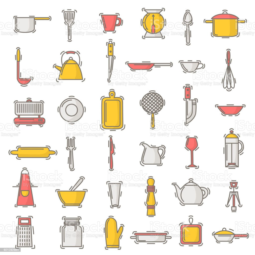 Kitchen Utensils Background: Kitchenware Vector Seamless Pattern Cookware For Cooking