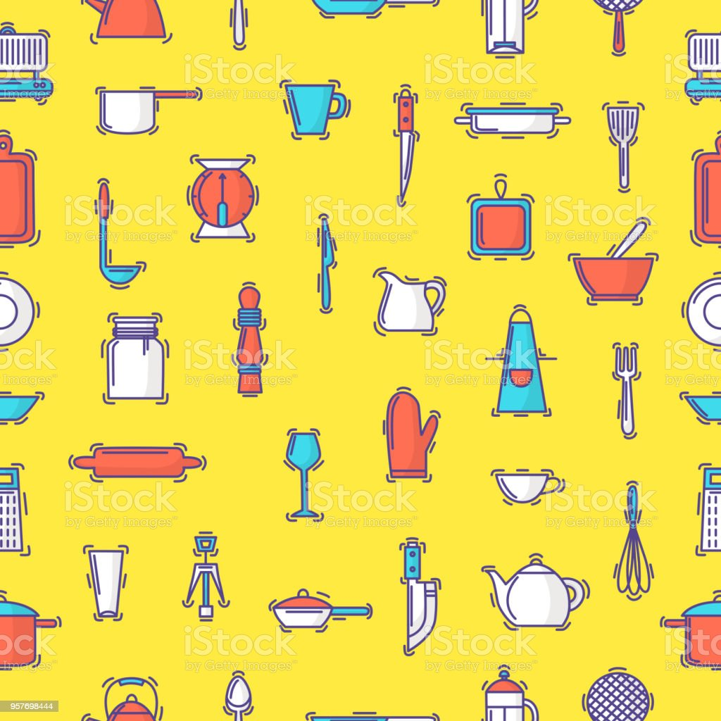 Kitchenware Vector Seamless Pattern Cookware For Cooking And Kitchen Orange Themed Circuit Board Drawing Clipart Illustration Utensils Or Cutlery Kitchener Backdrop