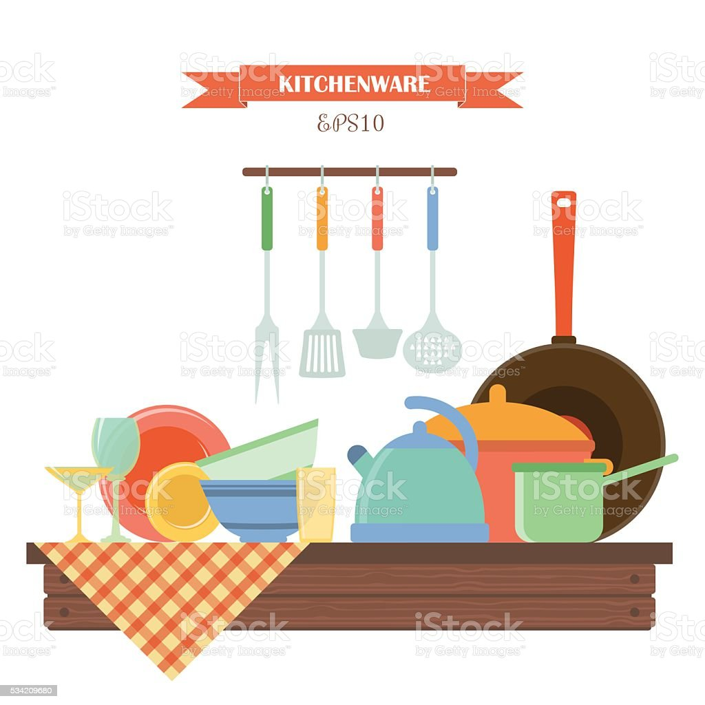 Kitchenware. Vector set of elements on wooden table. vector art illustration