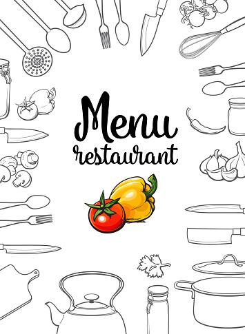 Kitchenware, vegetables and cutlery menu design vector illustration