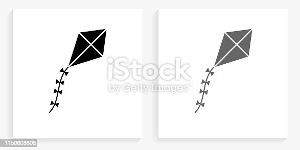Kite Black and White Square Icon. This 100% royalty free vector illustration is featuring the square button with a drop shadow and the main icon is depicted in black and in grey for a roll-over effect.