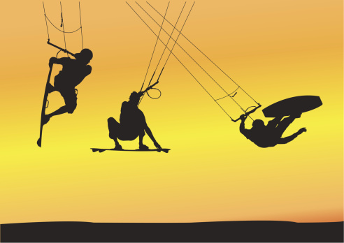 Kite boarding aerial jumps