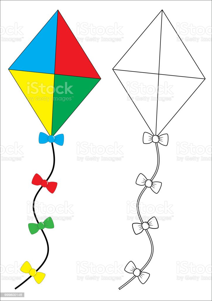 Uçurtma Boyama Kitabı Fidler Için Oyun Vektör çizim Stok Vektör