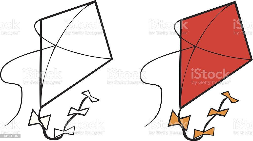 kite coloring book vector art illustration