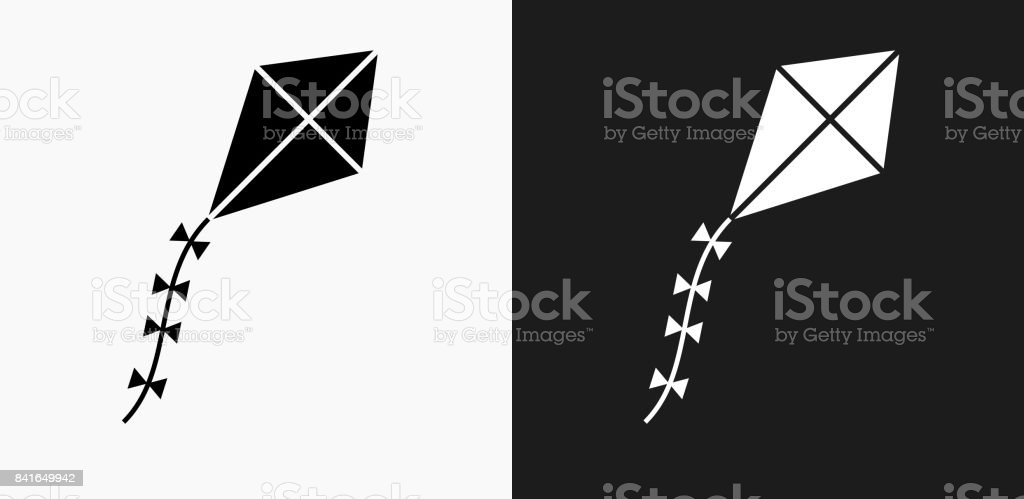 Kite Icon on Black and White Vector Backgrounds