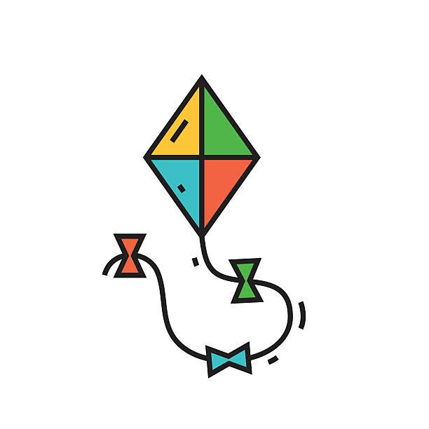 kite-linie-icon - strickideen stock-grafiken, -clipart, -cartoons und -symbole