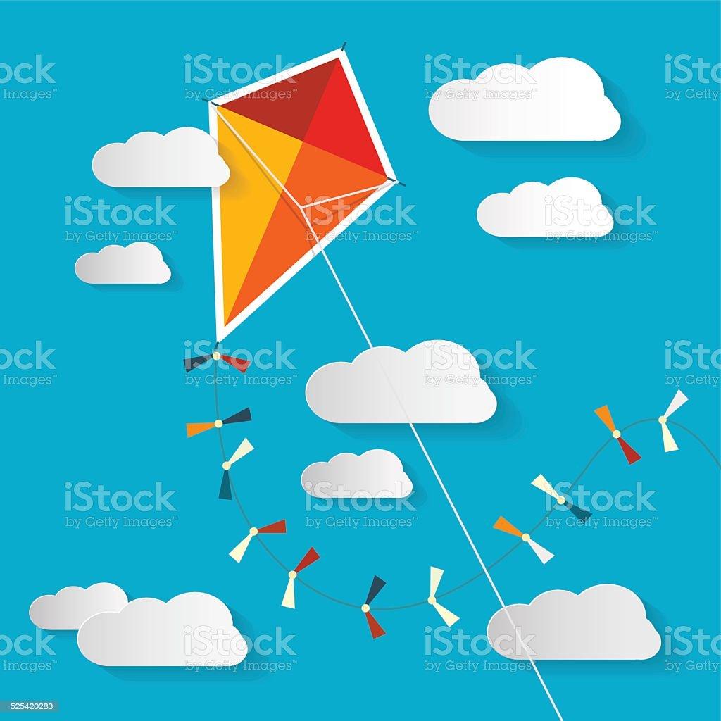 Kite on Blue Sky vector art illustration