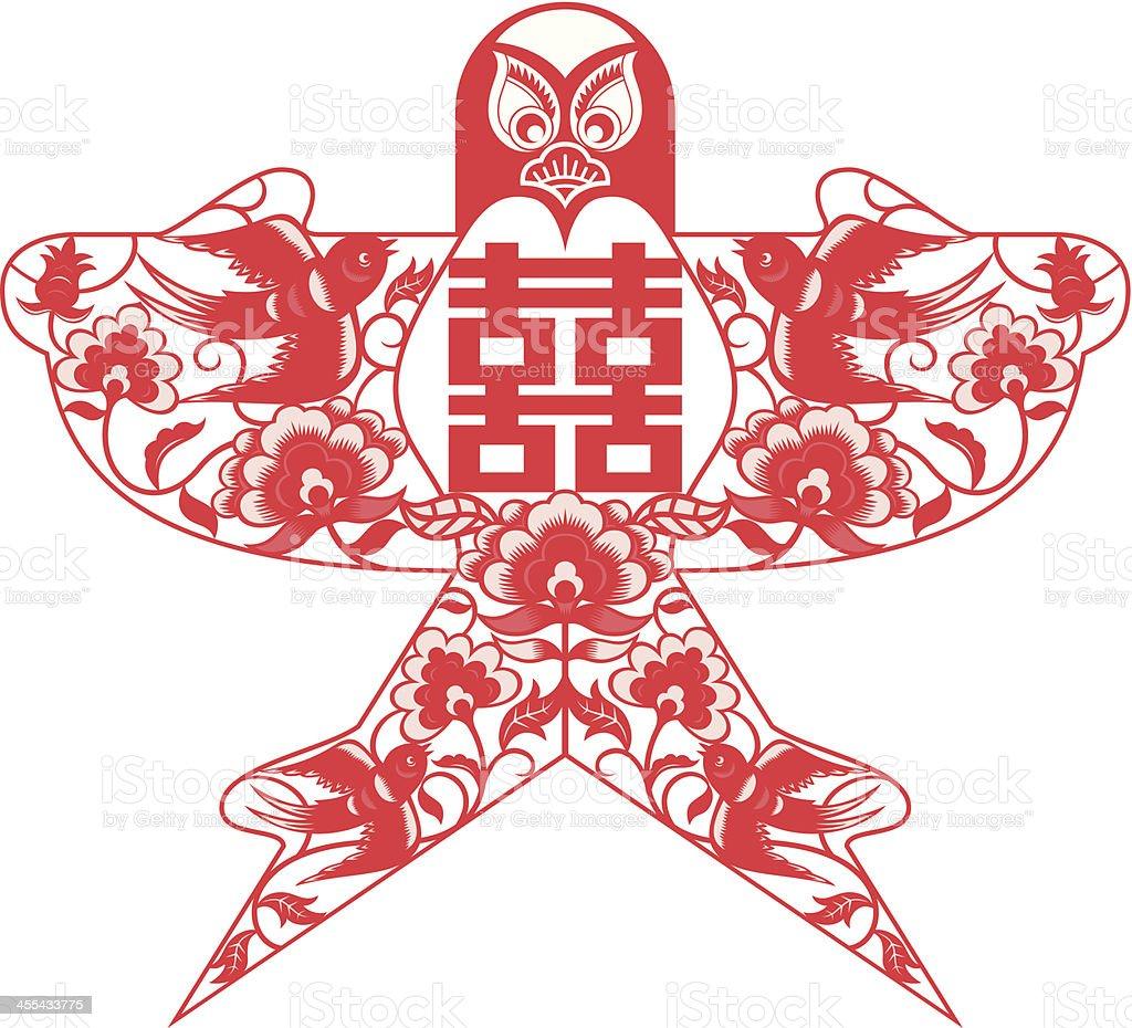 kite shape double happiness vector art illustration