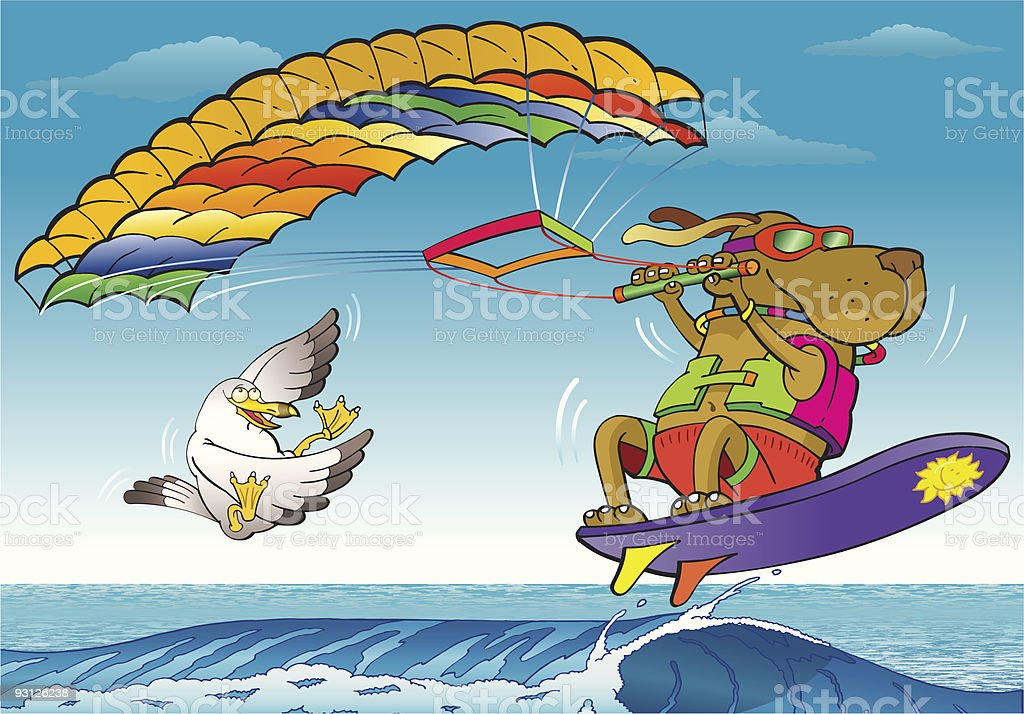 Kite Surfing Dog royalty-free kite surfing dog stock vector art & more images of animal