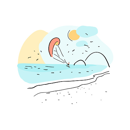Kite surfing. Extreme sports. Hand drawn vector  summer background. Simple drawing with beach. Useful for poster, card, banner and web design. Print for t-shirt or bag