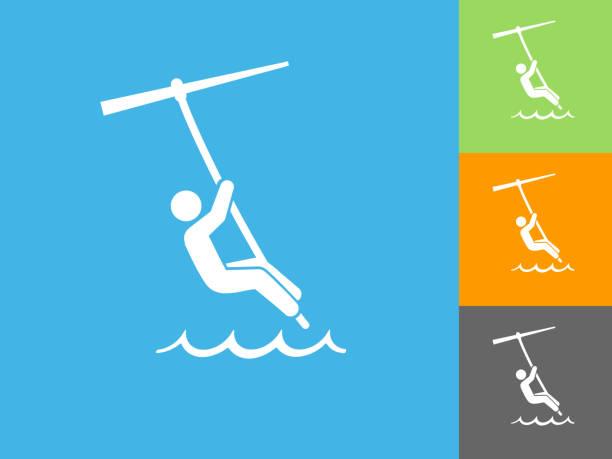 ilustrações, clipart, desenhos animados e ícones de kite surf ícone plana sobre fundo azul - ícones de design planar