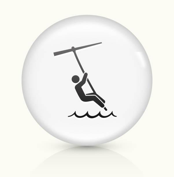 ilustrações, clipart, desenhos animados e ícones de kite surfe ícone em branco vetorial redondo botão - ícones de design planar