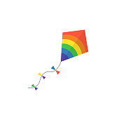 kite vector illustration vector lite in the sky rainbow toy