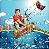Kiteboarder jumping