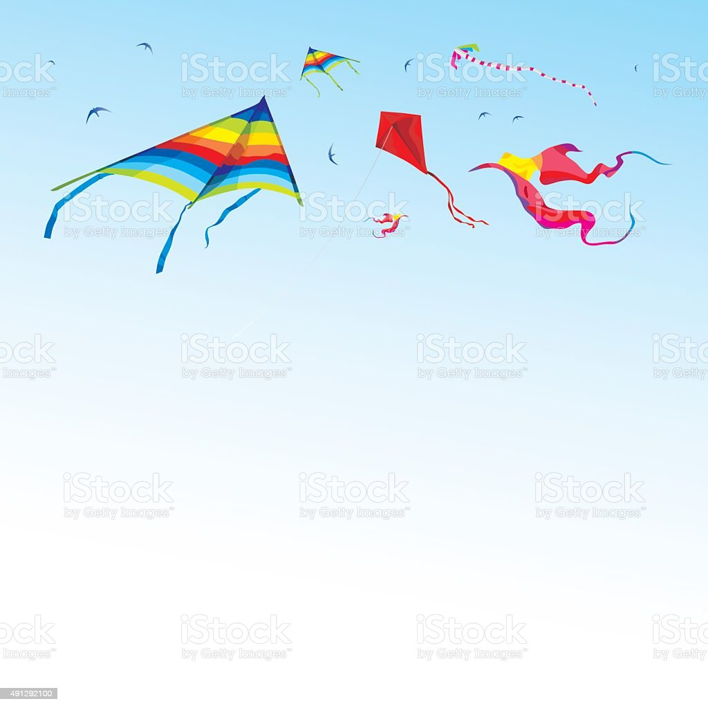 Kites and birds in the sky - vector vector art illustration