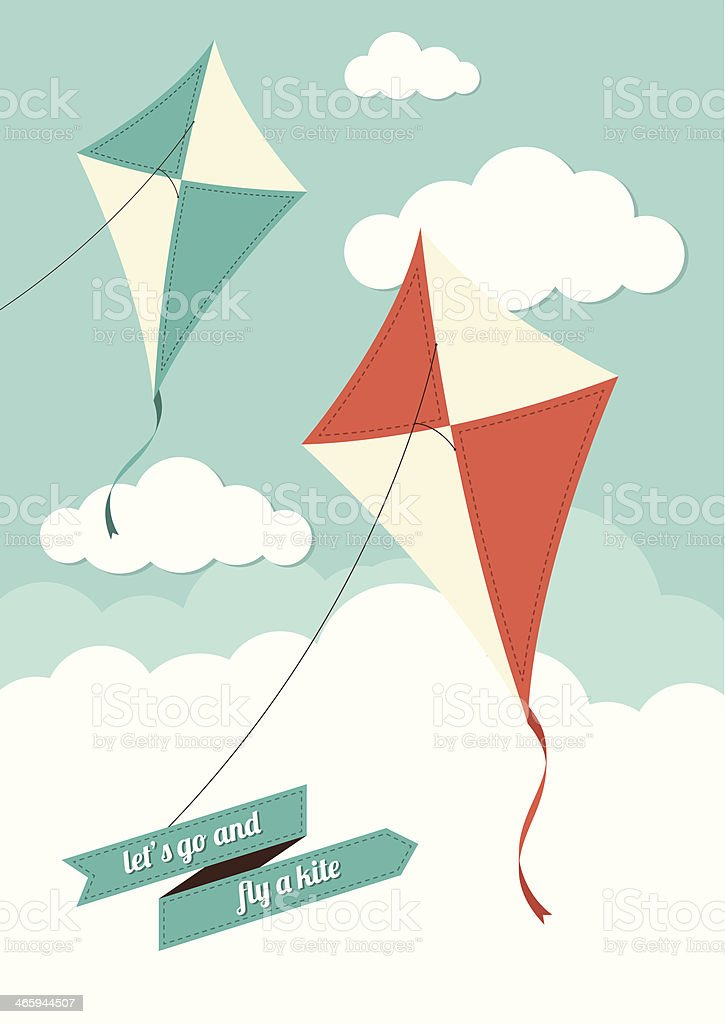 Kites and Clouds vector art illustration