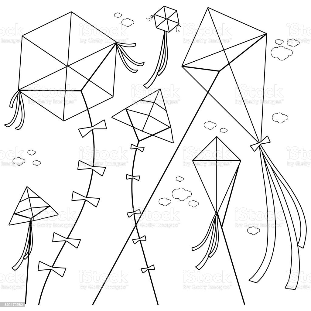Kites. Black and white coloring book page