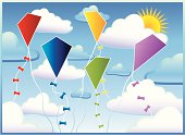 Vector red, blue, yellow, green and purple kites set against of cloudy blue sky. Isolated versions of the clouds, sun and kites included. Files supplied as Illustrator AI and EPS files.
