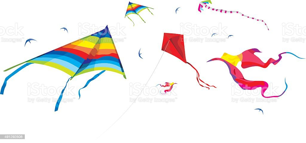 Kites on the white background - vector
