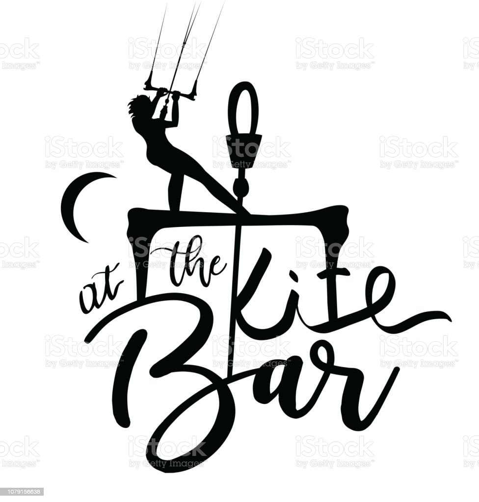 Kitesurfer Girl Lettering Design at the Bar