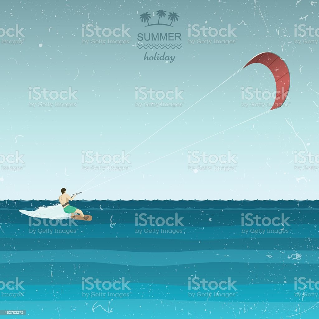 Kitesurfing illustration in retro style