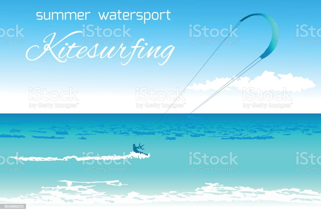 Kitesurfing summer watersport concept