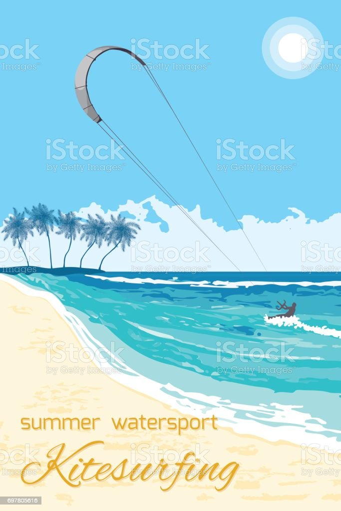 Kitesurfing summer watersport poster