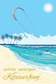 Kitesurfing summer watersport poster