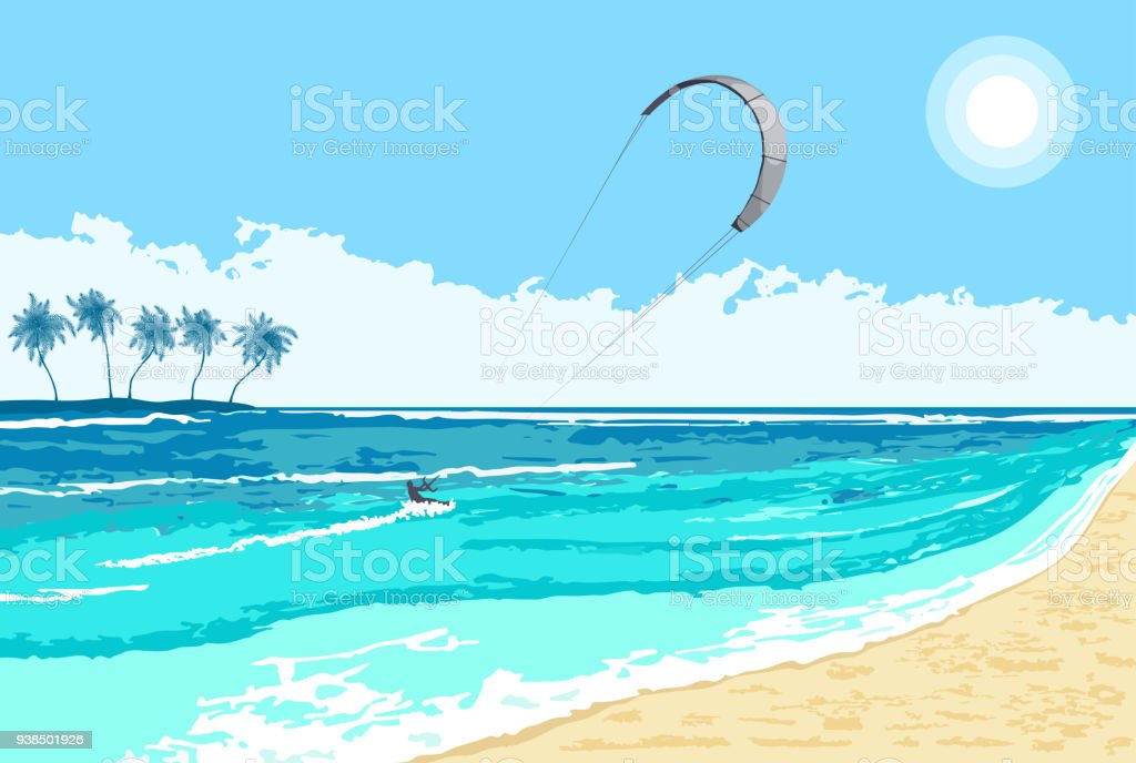 Kitesurfing summer watersport seaside