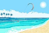 Kitesurfing summer watersport seaside