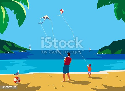 Kiting on sea beach. Leisure fun activity on sand seashore. Colorful cute cartoon. Adult father, small boy son enjoy with flying kites. Summer family vacation. Vector ocean seascape scenic background