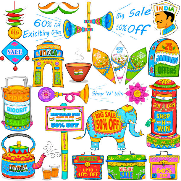 Kitsch art of India showing sale and promotion illustration of kitsch art of India showing sale and promotion kitsch stock illustrations