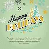 Christmas greeting design on green