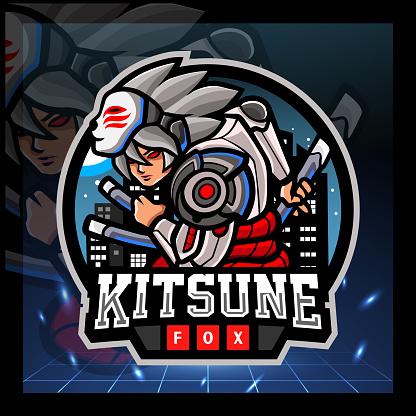 Kitsune cyborg mascot. sport emblem design