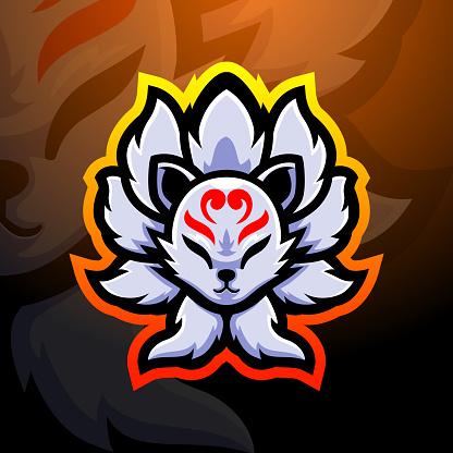 Kitsune fox nine tails mascot esport emblem design