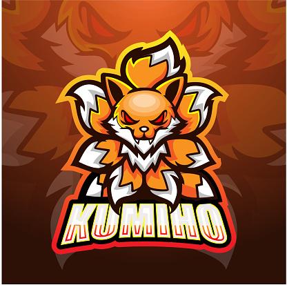 Kitsune fox nine tails mascot esport logo design