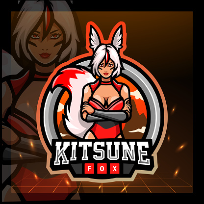 Kitsune girls mascot. sport emblem design