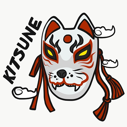 Kitsune mask (Japanese fox god) cartoon vector illustration