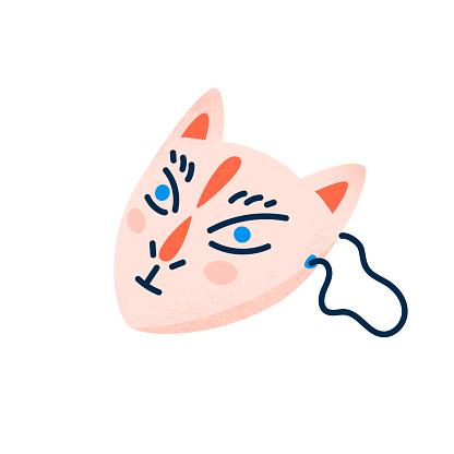 Kitsune mask isolated vector illustration. Japanese festival design element.